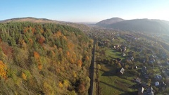 Aerial view of the Ukrainian town Yaremche in the Carpathian Mountains Stock Footage