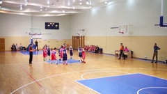 Start of children basketball game during Moscow Championship Stock Footage