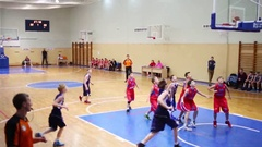 Children basketball game during Moscow Championship Stock Footage
