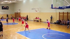 Children basketball game and supporters during Moscow Championship Stock Footage