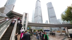 Tourists on elevator and skyscrapers, Pier in Shanghai Stock Footage