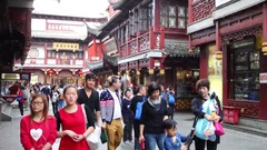 Many tourists in Yuyuan Garden, Today occupies an area of 2 hectares Stock Footage