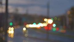Blur background. Moving bokeh circles of night traffic. Defocused night traffic Stock Footage