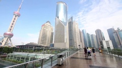 City and tourists, Shanghai - financial and commercial center of China Stock Footage