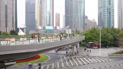 Morning city and walking people, Shanghai - financial center of China Stock Footage