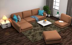 Interior with brown sofa. 3d illustration Stock Illustration