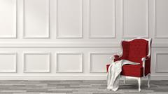 Red classic armchair with white wall and floor. 3d illustration Stock Illustration