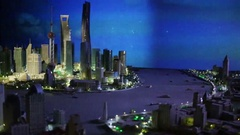 Miniature of city at night in Shanghai tower, China Stock Footage