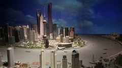 Miniature of city at day in Shanghai tower, China Stock Footage