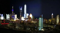 Miniature of Shanghai city at night in Shanghai tower Stock Footage