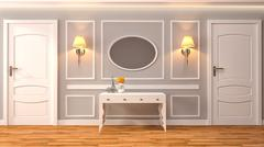 Empty interior with lamp included. 3d illustration Stock Illustration