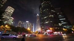 High buildings and road, Shanghai has population of 24,6 millions people Stock Footage