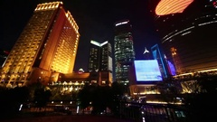 Illuminated high buildings, Shanghai is commercial center of China Stock Footage