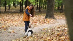 Girl in jacket, plays with a dog on a background of green trees Stock Footage