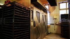 Bakery oven door dolly shot Stock Footage