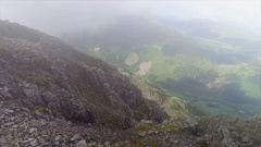 Cliff Edge and Foggy Valley Stock Footage