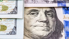 Benjamin Franklin portrait from 100 dollars banknote close up Stock Footage