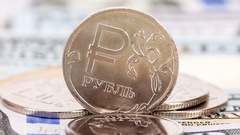 Russian rubles coins over dollars banknotes close up Stock Footage