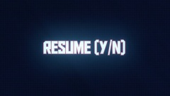 Resume Paused Game Y N TV Screen Interface - Straight Angle Corner Pin Stock Footage