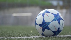 Soccer ball on synthetic field Stock Footage