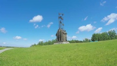 Monument In Memory of the Ledovoye Battle Stock Footage