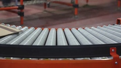 Shipping Packages at Conveyer Belt in Distribution Warehouse Stock Footage