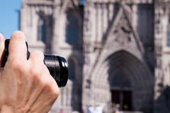 Taking a picture of the Barcelona Cathedral, Spain Stock Photos