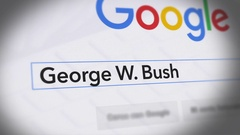 Google Search Engine - Search For George W. Bush Stock Footage