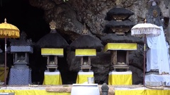 4k Holy bat cave temple decoration Goa Lawah Bali Stock Footage