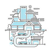 Cityscape and city life - line design composition Stock Illustration