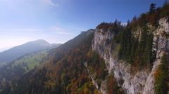 French Jura Mountain cinematic aerial shot Stock Footage
