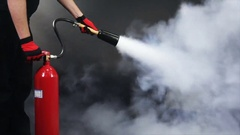 Fire extinguisher demonstration Stock Footage