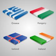 European Country Flags. Greece, Hunguary, Iceland, Ireland. Piirros