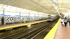 BOSTON People wait for MBTA subway train in Boston.  Stock Footage