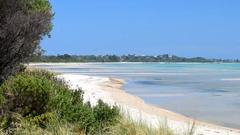 Beach along Nepean Highway, Victoria - Australia Stock Footage