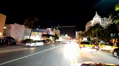 Miami Beach road at night. Miami Beach is a major Stock Footage