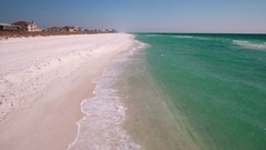 Flyover of white sandy beach Stock Footage