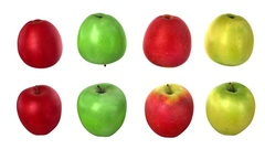 Turning apples, four options Stock Footage
