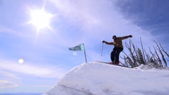 Ski jump slow motion, back roll 540 with grab. Stock Footage