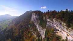 Beautiful mountain lanscape in autumn arial shot Stock Footage
