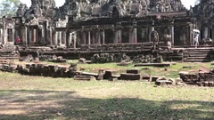 Ancient Bayon Temple At Angkor Wat, Siem Reap, Cambodia Stock Footage