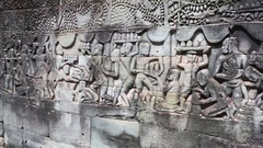Carved Stone images on Bayon Temple, Siem reap, Cambodia Stock Footage