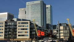 Canary Wharf Banks Architecture in Docklands 4K Stock Footage