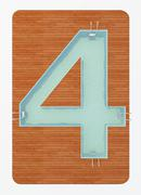 Number four in the shape of the pool 3d rendering Stock Illustration
