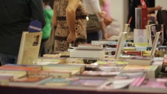 Books exhibited at the fair Stock Footage
