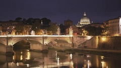St peters and tiber river at night in the city of rome, italy Stock Footage