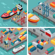 Cargo Port Illustrations in Isometric Projection Stock Illustration