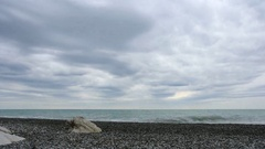 4K. White Cliffs. Movement of the clouds over the Black Sea. Gagra, Abkhazia Stock Footage
