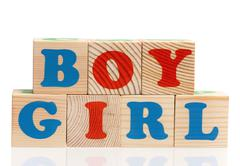 Wooden cubes with letters Stock Photos