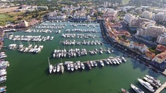 Shooting port with yachts Marina Vilamoura Stock Footage